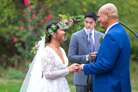 bride and groom outdoor ceremony - 48 Fields Wedding Barn | Leesburg VA