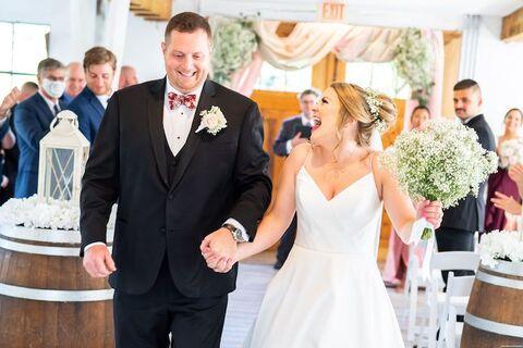 bride and groom just married micro wedding - 48 Fields Wedding Barn | Leesburg VA