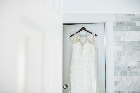 getting ready lace wedding dress - 48 Fields Wedding Barn | Leesburg VA