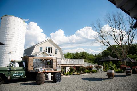 cocktail hour mobile bar - 48 Fields Wedding Barn | Leesburg VA