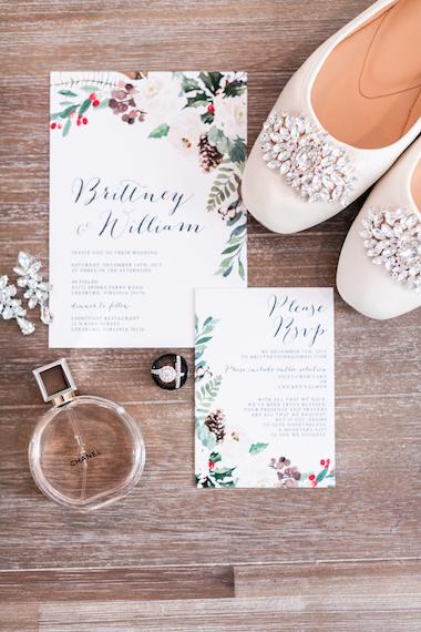 winter elopement flat lay invitation - 48 Fields Wedding Barn | Leesburg VA