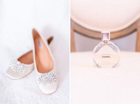 bride shoes and perfume - 48 Fields Wedding Barn | Leesburg VA