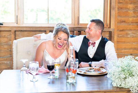 bride and groom reactions to wedding speeches - 48 Fields Wedding Barn | Leesburg VA