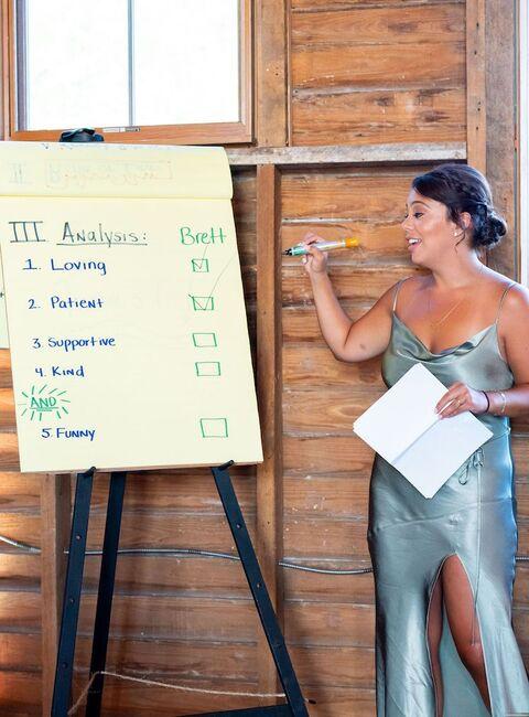 bridesmaid speech maid of honor toast flip chart - 48 Fields Wedding Barn | Leesburg VA
