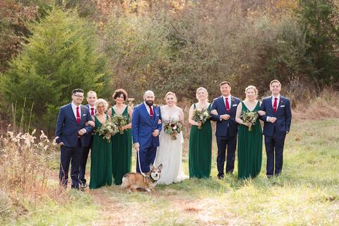 family photo with dog wedding corgi - 48 Fields Wedding Barn | Leesburg VA