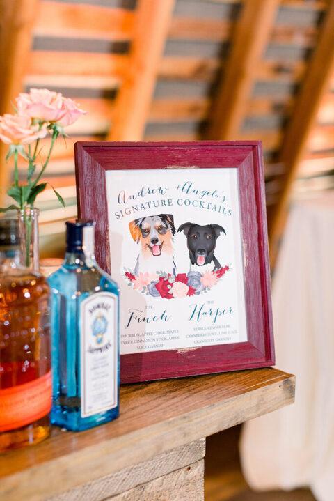 pet portrait dogs signature drinks sign - 48 Fields Wedding Barn | Leesburg VA