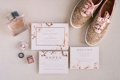 wedding invitation sparkly bride sneakers - 48 Fields Wedding Barn | Leesburg VA