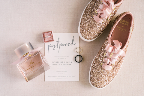2020 postponed wedding stationery sparkly pink bride sneakers - 48 Fields Wedding Barn | Leesburg VA