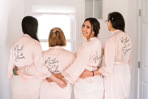 bride and bridesmaid mother of the bride robes - 48 Fields Wedding Barn | Leesburg VA