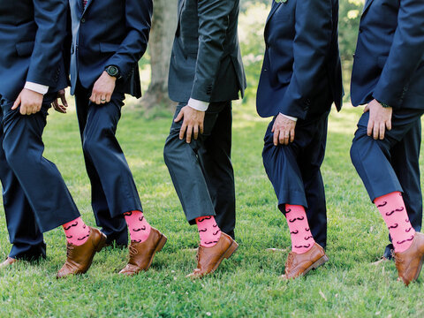 groomsmen gifts mustache socks - 48 Fields Wedding Barn | Leesburg VA