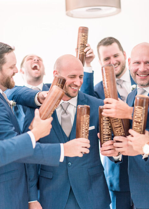 groomsmen gifts personalized baseball bat mugs - 48 Fields Wedding Barn | Leesburg VA