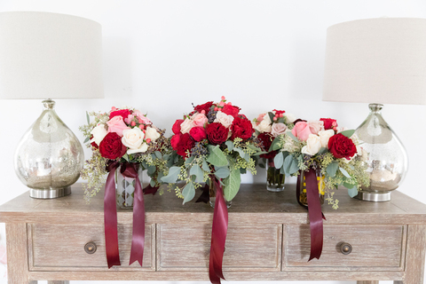 red, maroon and pink fall wedding bouquets - 48 Fields Wedding Barn | Northern VA