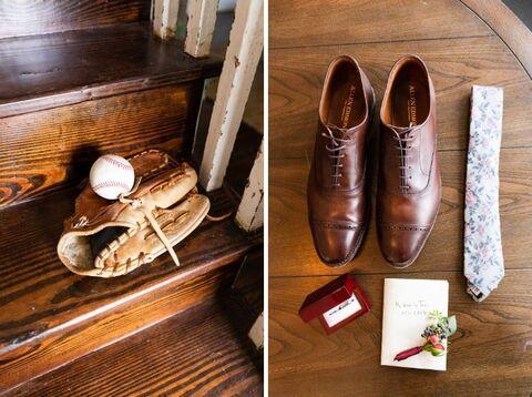 groom getting ready details baseball glove - 48 Fields Wedding Barn | Leesburg VA