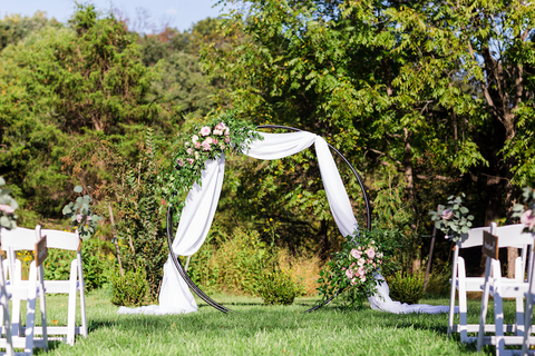 moon gate floral ring fall pink outdoor wedding ceremony backdrop - 48 Fields Wedding Barn | Northern VA
