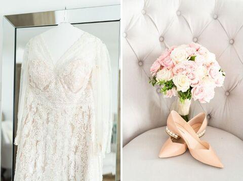 winter elopement getting ready long-sleeve lace wedding dress flats - 48 Fields Wedding Barn | Leesburg VA