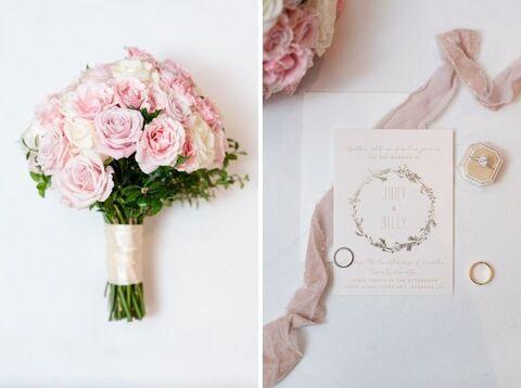 pink rose bouquet stationery - 48 Fields Wedding Barn | Leesburg VA