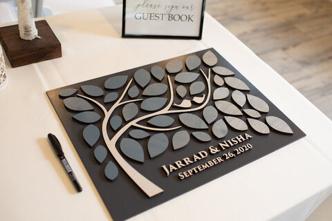guest book alternative wood wall art tree - 48 Fields Wedding Barn | Northern VA