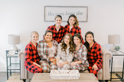 bride and bridesmaids getting ready winter wedding matching pajamas - 48 Fields Wedding Barn | Leesburg VA