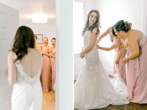 bride getting ready with bridesmaids - 48 Fields Wedding Barn | Leesburg VA