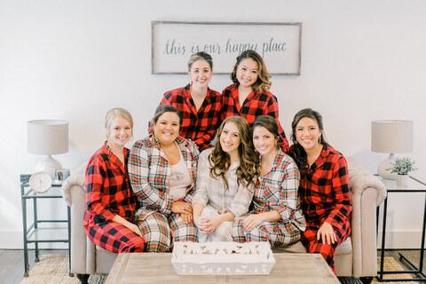 bride and bridesmaids matching pajamas winter wedding - 48 Fields Wedding Barn | Northern VA