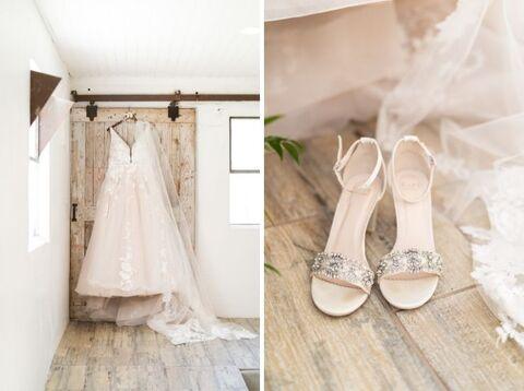 bride blush a-line dress barn micro wedding getting ready - 48 Fields Wedding Barn   Northern VA
