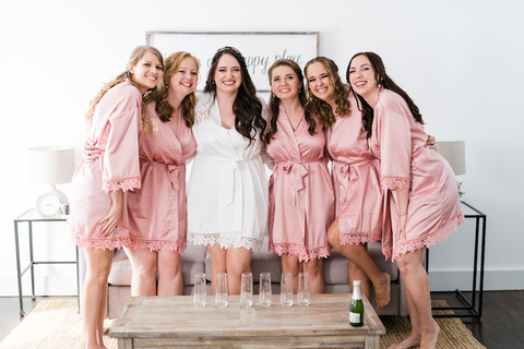bride and bridesmaids getting ready matching pink robes - 48 Fields Wedding Barn | Northern VA
