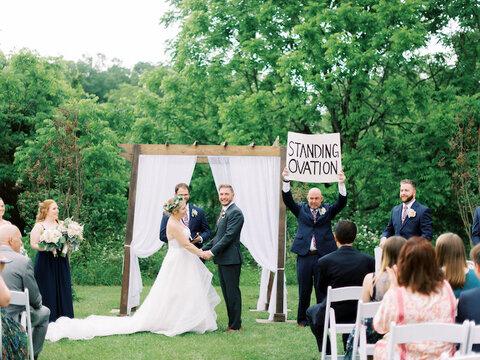 standing ovation sign fun wedding ceremony ideas - 48 Fields Wedding Barn | Northern VA