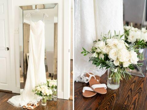 modern wedding getting ready suite white green bride bouquet - 48 Fields Wedding Barn | Northern VA