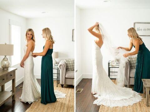 bride getting ready fall micro wedding - 48 Fields Wedding Barn | Northern VA