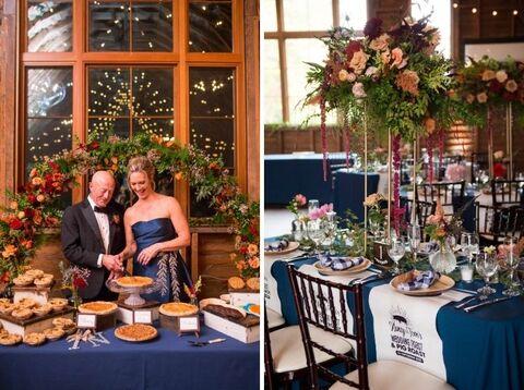 fall picnic themed wedding pie table pig roast bibs - 48 Fields Wedding Barn   Leesburg VA