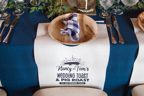 fall picnic themed wedding table decor pig roast bibs - 48 Fields Wedding Barn   Leesburg VA