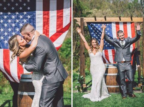 4th of July American flag outdoor themed wedding ceremony - 48 Fields Wedding Barn   Northern VA