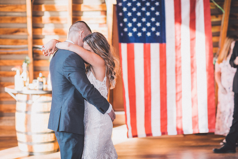 4th of July American flag themed first dance - 48 Fields Wedding Barn   Northern VA