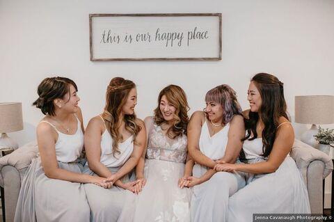 bride with bridesmaids in farmhouse wedding - 48 Fields Wedding Barn | Leesburg VA