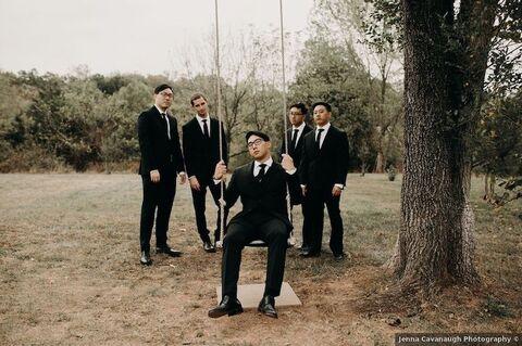 groom with groomsmen on swing fall wedding - 48 Fields Wedding Barn | Leesburg VA
