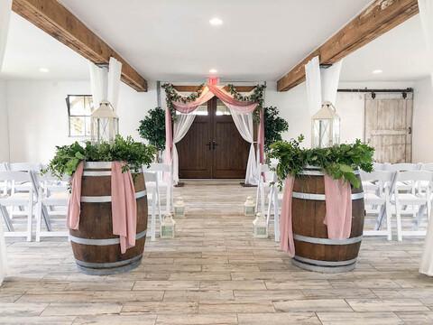 pink and white indoor ceremony micro wedding venue - 48 Fields Wedding Barn | Leesburg VA
