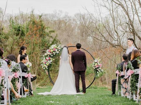 spring outdoor wedding ceremony decor - 48 Fields Wedding Barn | Leesburg VA