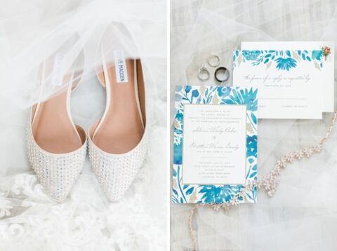 getting ready bride shoes invitation suite flat lay - 48 Fields Wedding Barn   Leesburg VA