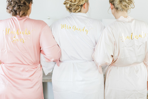bride and bridesmaids matching pink and white robes - 48 Fields Wedding Barn   Leesburg VA