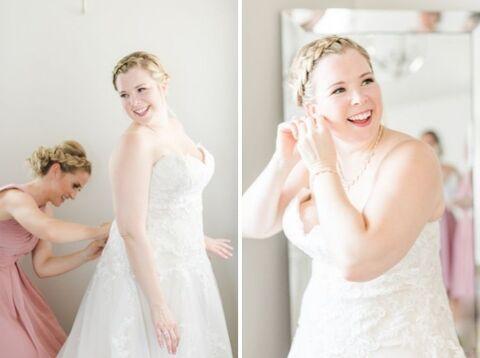 bride getting ready braided updo strapless dress summer wedding - 48 Fields Wedding Barn   Leesburg VA