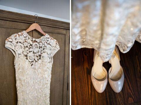 bride lace cap sleeve dress and shoes- 48 Fields Wedding Barn | Leesburg VA