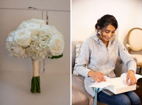 bride bouquet getting ready fall micro wedding - 48 Fields Wedding Barn | Leesburg VA