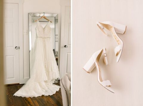 bride dress and shoes getting ready - 48 Fields Wedding Barn | Leesburg VA
