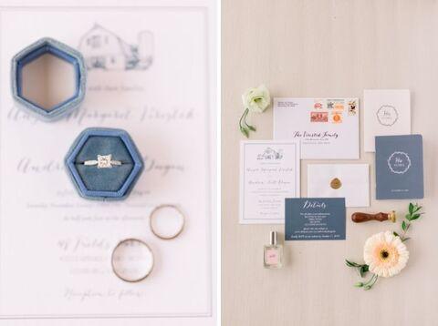 stationery flat lay dusty blue ring box - 48 Fields Wedding Barn | Leesburg VA