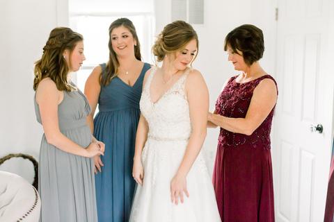 bride getting ready dusty blue and burgundy - 48 Fields Wedding Barn | Leesburg VA