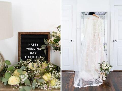 getting ready bride gown letter board - 48 Fields Wedding Barn   Leesburg VA