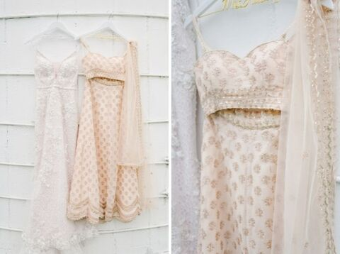 two dresses Blush and Gold Summer Indian-American Wedding - 48 Fields Wedding Barn | Northern VA