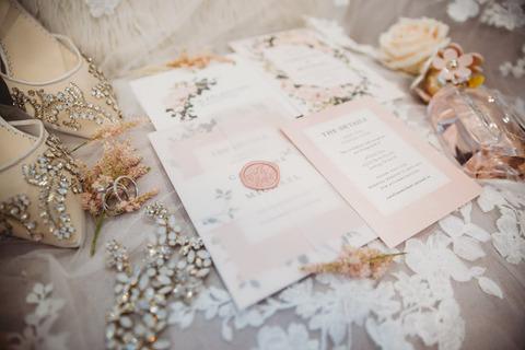 invitation flat lay spring wedding - 48 Fields Wedding Barn   Leesburg VA
