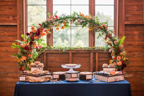 wedding pie table - 48 Fields Wedding Barn | Leesburg VA