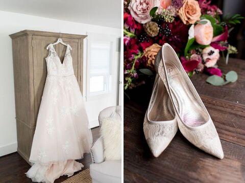 wedding dress and shoes bride getting ready fall wedding - 48 Fields Wedding Barn   Leesburg VA